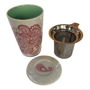 David's Tea perfect green /red paisley infuser mug